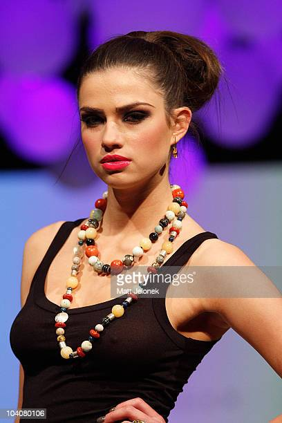 Model showcases Jewellery designs by Jan Logan during the Wesley Quarter catwalk show as part of Perth Fashion Week 2010 at Fashion Paramount on...