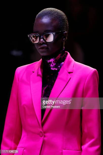 A model showcases Martin Grant designs during the Opening Town Hall Runway at Melbourne Fashion Week at Melbourne Town Hall on August 30 2019 in...