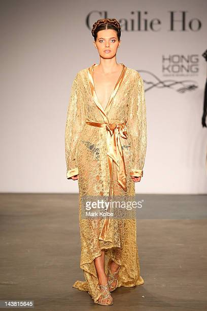 A model showcases Mondovi Lingerie by DoDo Leung on the catwalk during the Style Hong Kong Group Show on day five of MercedesBenz Fashion Week...