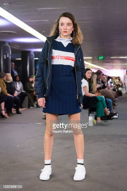 A model showcases PE Nation designs during Underground Runway One show at Melbourne Fashion Week on September 2 2018 in Melbourne Australia