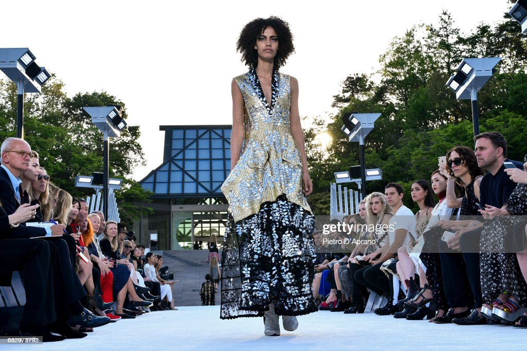 A model showcases the design on runway during the Louis Vuitton Resort 2018 show at the Miho Museum on May 14, 2017 in Koka, Japan.