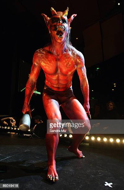 A model showcases the work of Andrea Hows in the SPFX Creatures section during the New Zealand Body Art Awards at the Bruce Mason Centre on July 25...