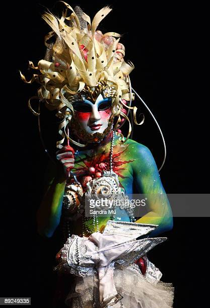 A model showcases the work of Kelly Zhongni Ren in the SPFX Fantasy section during the New Zealand Body Art Awards at the Bruce Mason Centre on July...