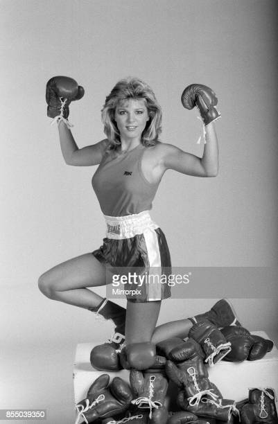 A model showcasing boxing gloves 7th October 1987