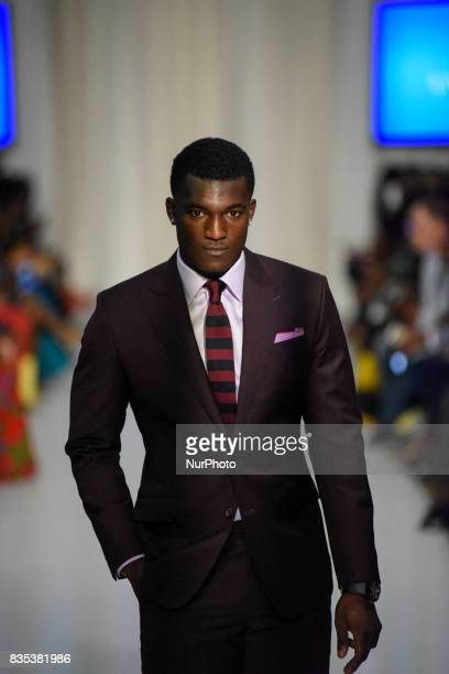 """Model showcasing clothes of designer """"Fari Hara"""" during the African Fashion Week in Toronto, Canada on 18 August 2017."""
