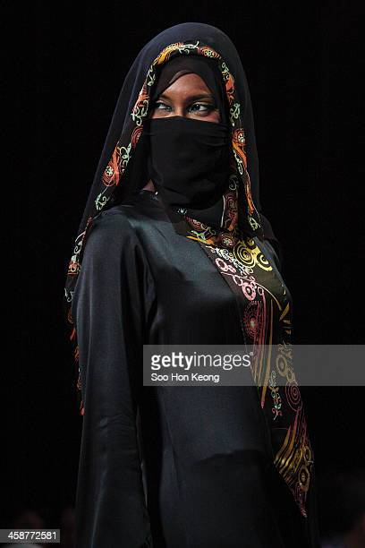 Model showcasing Islamic Fashion during Malaysia International Fashion Week held at KL Convention Centre, Kuala Lumpur, Malaysia