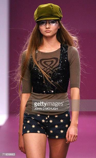 A model shows a creation by British designers Biba at London Fashion Week 19 September 2006 AFP PHOTO / JOHN D MCHUGH