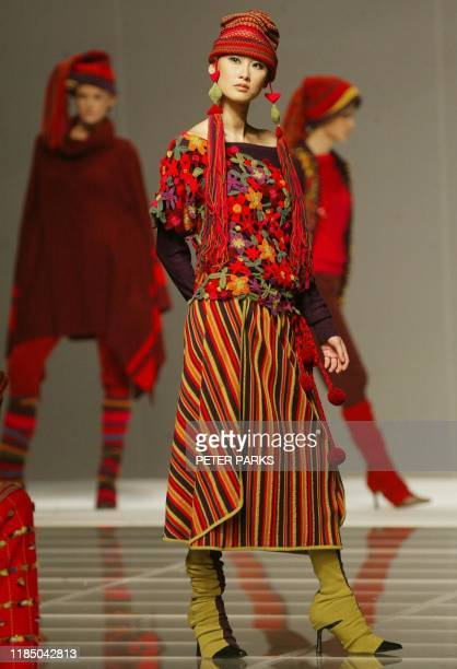 A model shows a creation from Hong Kong designer Judy Mann at the Hong Kong Designers Magnificence show for Hong Kong Fashion Week Fall/Winter 2003...