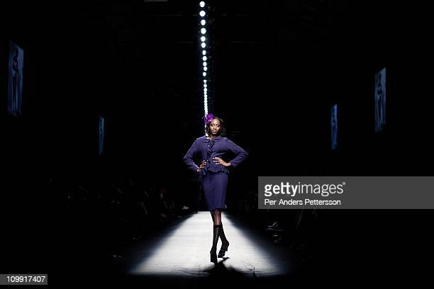 A model shows an outfit for the designer LISP at the Joburg Fashion Week on February 18 in Johannesburg South Africa South Africa's finest designers...