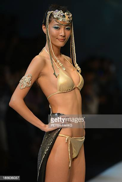 A model shows off a creation by Maryan Mehlhorn during the Shanghai Mode Lingerie Fashion show in Shanghai on October 23 2013 The show is a part of...