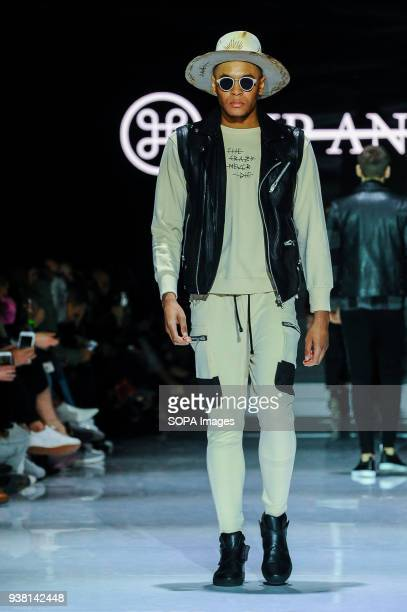 A model shows off the new Fall/Winter 2018 HIP BONE collection at Toronto Mens Fashion Week 2018