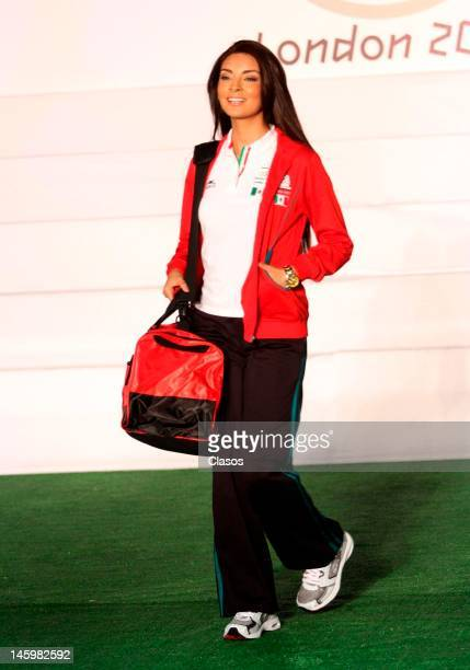 A model shows on the catwalk the new mexican uniforms during the presentation of the uniforms that Mexican athletes will use in the Olympic Games of...