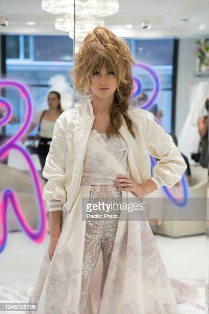 Model shows out dress for Randi Rahm Bridal Evolution Presentation during New York Bridal Week at Randi Rahm showroom Manhattan