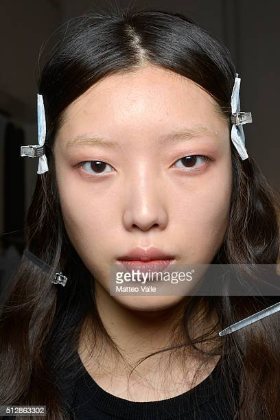 A model si seen backstage ahead of the Damir Doma show during Milan Fashion Week Fall/Winter 2016/17 on February 28 2016 in Milan Italy