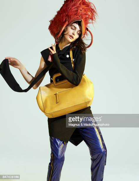 Model Sibui poses at a fashion shoot for Madame Figaro on July 8 2017 in Paris France Top and pants Brimley bag Furry Bag PUBLISHED IMAGE CREDIT MUST...