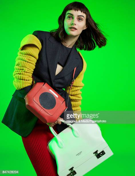 Model Sibui poses at a fashion shoot for Madame Figaro on July 8 2017 in Paris France Jacket top skirt sleeves and 205 bag Octogone bag PUBLISHED...