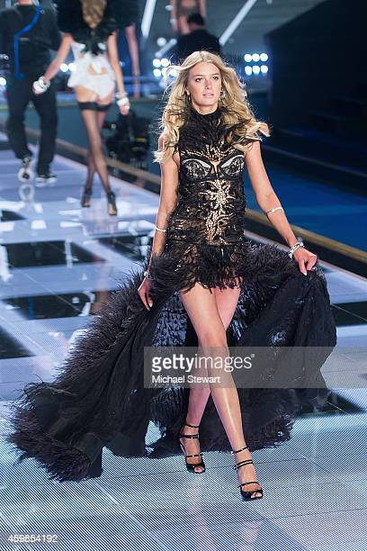 Model Sigrid Agren walks the runway at the annual Victoria's Secret fashion show at Earls Court on December 2 2014 in London England