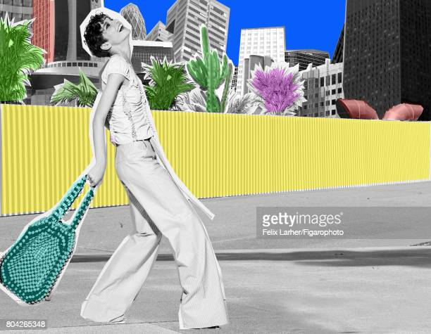 Model Sija Titko poses at a fashion shoot for Madame Figaro on May 18, 2017 in Paris, France. Top and pants , bag . PUBLISHED IMAGE. CREDIT MUST...