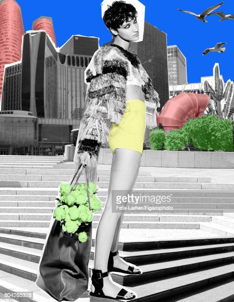 Model pose at a fashion shoot for Madame Figaro on May 18 2017 in Paris France Bolero bra shorts tote sandals PUBLISHED IMAGE CREDIT MUST READ Felix...