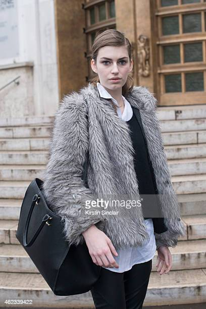 Model Simcha Kirchner wears Primark pants HM sweater Zara shirt and HM handbag on day 2 of Paris Haute Couture Fashion Week Spring/Summer 2015 on...