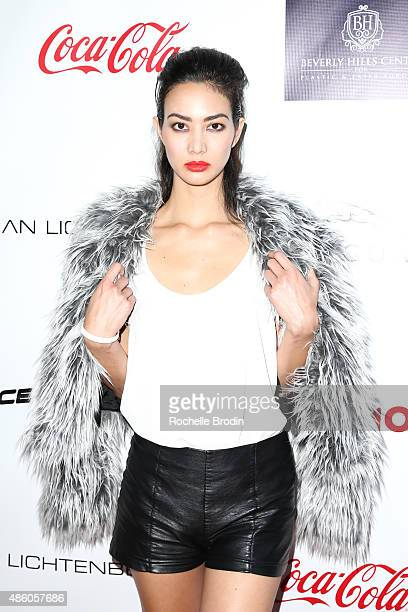 Model Simha arrives at the Accelerate4Change charity event presented by Dr Ben Talei Cinemoi on August 29 2015 in Beverly Hills California