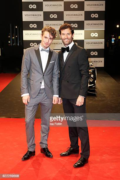 Model Simon Lohmeyer and formula one racer Mark Webber attend the GQ Men of the year Award 2016 at Komische Oper on November 10 2016 in Berlin Germany