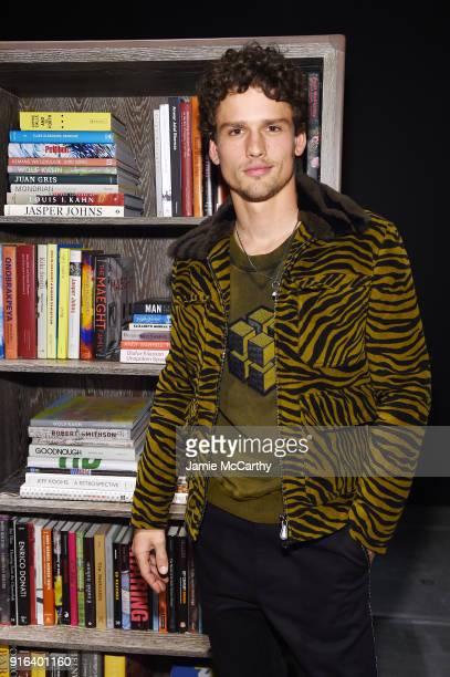 Model Simon Nessman attends the Bottega Veneta Fall/Winter 2018 fashion show at New York Stock Exchange on February 9 2018 in New York City