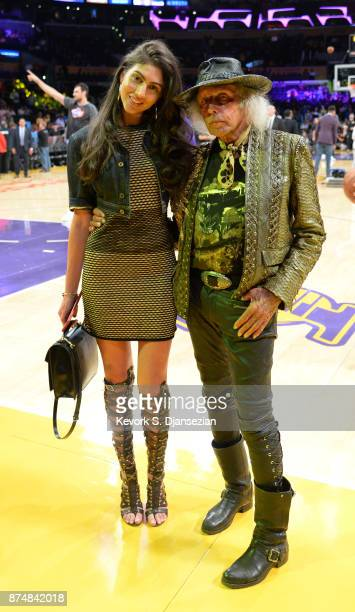 Model Simone Aptekman and Jimmy Goldstein attend the basketball game between Philadelphia 76ers and Los Angeles Lakers at Staples Center November 15...