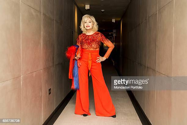 Model singer actress writer and TV host Amanda Lear posing at the Armani Hotel during the Milano Fashion Week Milan 23rd September 2016