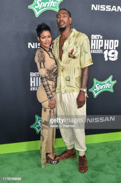 Model / Singer Teyana Taylor and Iman Shumpert arrive to the 2019 BET Hip Hop Awards on October 05, 2019 in Atlanta, Georgia.