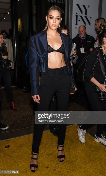 Model Sistine Rose Stallone is seen leaving Prabal Gurung fashion show during New York Fashion Week at Spring Studios on February 11 2018 in New York...