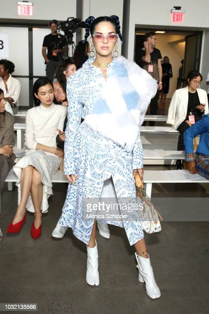Model Sita Abellan attends the Calvin Luo front Row during New York Fashion Week The Shows at Gallery I at Spring Studios on September 12 2018 in New...