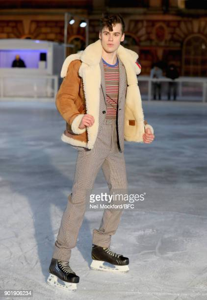 A model skates at the Band of Outsiders Presentation during London Fashion Week Men's January 2018 at Somerset House on January 6 2018 in London...