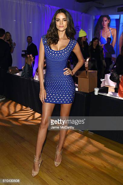 Model Sofia Resign poses at the Sports Illustrated Swimsuit 2016 Swim City at the Altman Building on February 15 2016 in New York City