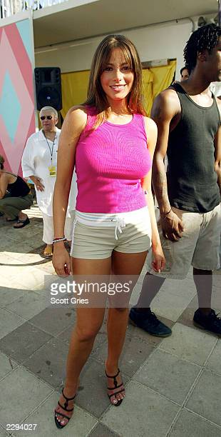 Model Sofia Vergara stands backstage during a taping for MTV Spring Break 2003 at the Surfcomber Hotel March 12 2003 in Miami Beach Florida
