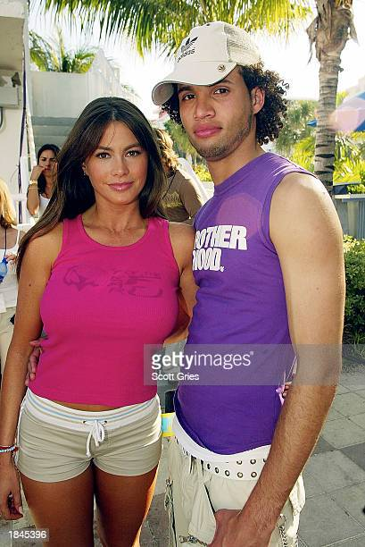 Model Sofia Vergara stands backstage with MTV VJ Quddus during a taping for MTV Spring Break 2003 at the Surfcomber Hotel March 12 2003 in Miami...