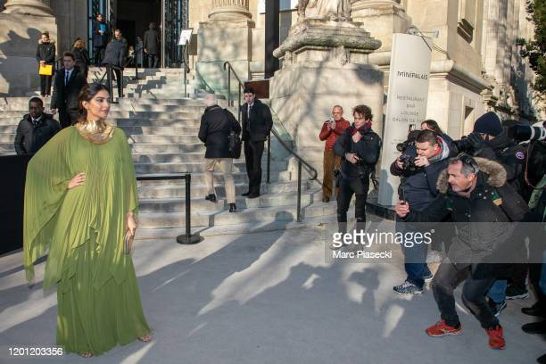 Model Sonam Kapoor arrives to attend the Elie Saab Haute Couture Spring/Summer 2020 show as part of Paris Fashion Week on January 22 2020 in Paris...