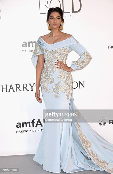 Model Sonam Kapoor attends the amfAR's 23rd Cinema Against AIDS Gala at Hotel du CapEdenRoc on May 19 2016 in Cap d'Antibes France