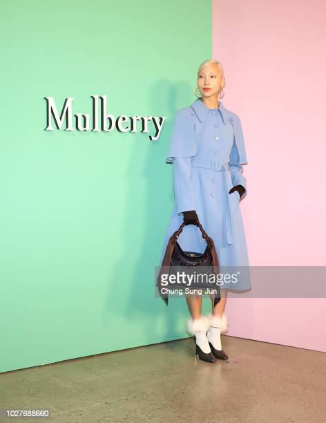 Model Soo Joo attends the Mulberry A/W 18 event at K museum on September 6 2018 in Seoul South Korea
