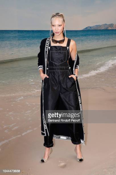 Model Soo Joo Park attends the Chanel show as part of the Paris Fashion Week Womenswear Spring/Summer 2019 on October 2 2018 in Paris France