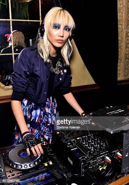 Model Soo Joo Park attends the I Love Coco Backstage Beauty Lounge at Chateau Marmont's Bar Marmont on February 25 2016 in Hollywood California