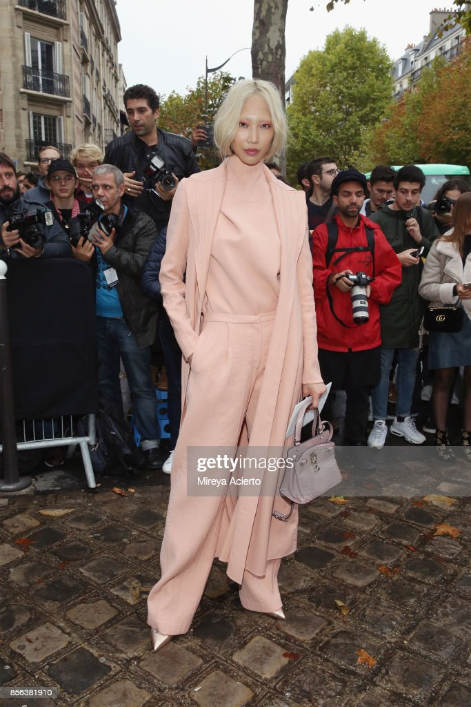 Model, Soo Joo Park attends the Valentino show as part of the Paris Fashion Week Womenswear Spring/Summer 2018 on October 1, 2017 in Paris, France.