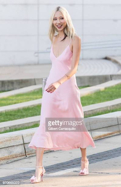 Model Soo Joo Park is seen arriving to the 2018 CFDA Fashion Awards at Brooklyn Museum on June 4 2018 in New York City