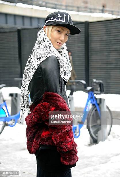 Model Soo Joo Park is seen outside the DKNY show on February 9, 2014 in New York City.