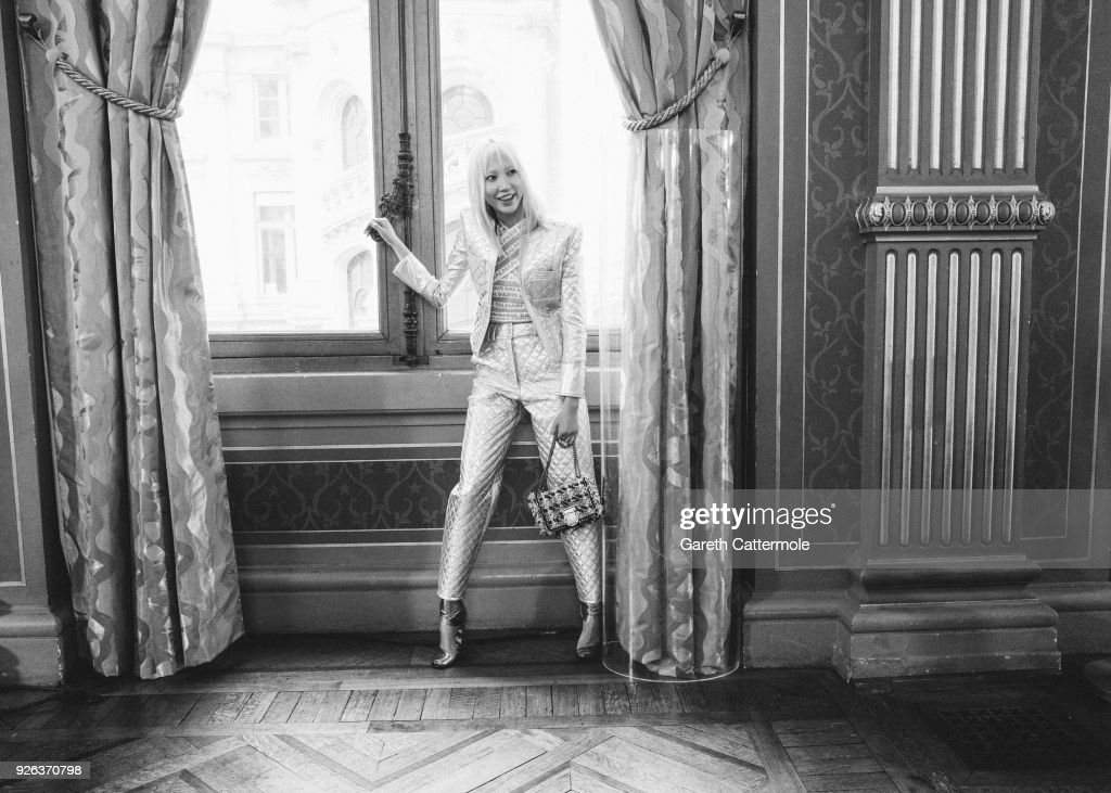 Model Soo Joo Park poses backstage before the Balmain show as part of the Paris Fashion Week Womenswear Fall/Winter 2018/2019 on March 2, 2018 in Paris, France.