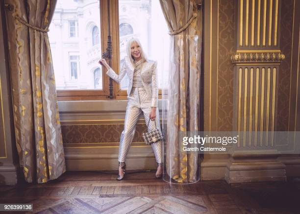 Model Soo Joo Park poses backstage before the Balmain show as part of the Paris Fashion Week Womenswear Fall/Winter 2018/2019 on March 2 2018 in...