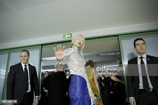 Model Soo Joo Park poses Backstage prior the Jean Paul Gaultier Fashion Week on January 25, 2017 in Paris, France.