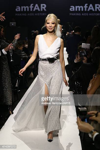 Model Soo Joo Park walks during the fashion show runway during amfAR's 22nd Cinema Against AIDS Gala Presented By Bold Films And Harry Winston at...