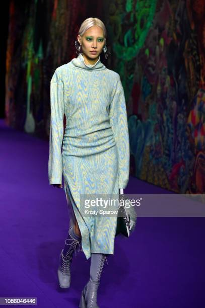 Model Soo Joo Park walks the runway during the Kenzo Menswear Fall/Winter 2019-2020 show as part of Paris Fashion Week on January 20, 2019 in Paris,...