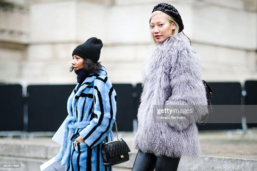 Street Style : Day Three - Paris Fashion Week- Haute Couture Spring Summer 2017 : News Photo